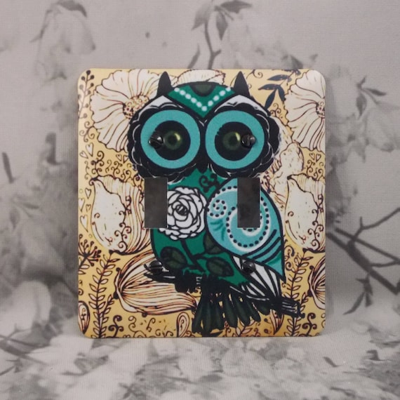 Metal Owl Double Toggle Light Switch Covers Owl Light Switch Etsy