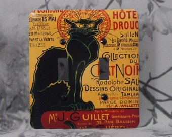 Metal Chat Noir Double Light Switch Cover - Black Cat Switch Plate - 2T Double Switch Plate