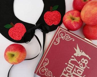 Red glitter or red felt apple snow white felt collar