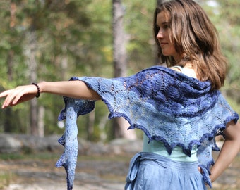 """Shawl """"Fall in Love"""" knitting pattern PDF instant download"""