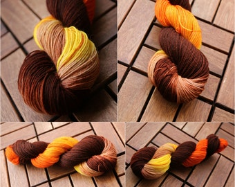 Hand dyed sock yarn Merino nylon blend superwash, Golden Brown
