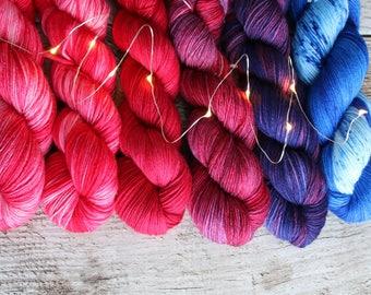 Hand dyed yarn pick your base!  Merino nylon blend superwash, Glitter, bamboo Love Is