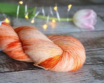 Hand dyed sock yarn Merino nylon blend superwash, Life is Peachy