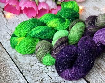 Hand dyed glittering sock yarn Merino nylon blend superwash, Matrix
