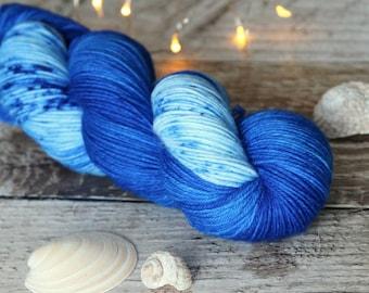Hand dyed sock yarn Merino nylon blend superwash, Blue Lagoon