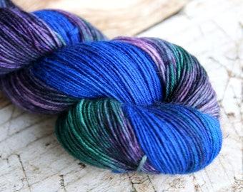 Hand dyed sock yarn Merino nylon blend superwash, Peacock