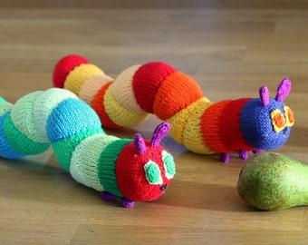 Caterpillar  toy knitting pattern PDF instant downloadm knitting tutorial caterpillar toy