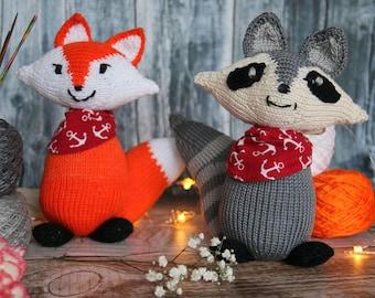 Fox and raccoon knitting pattern, woodland friends toy knitting pattern PDF download DIY