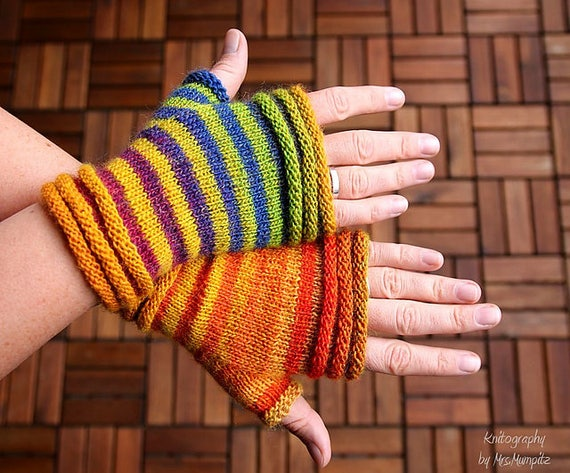 Fingerless Mittens Knitting Pattern Pdf Download Easy Pattern Etsy