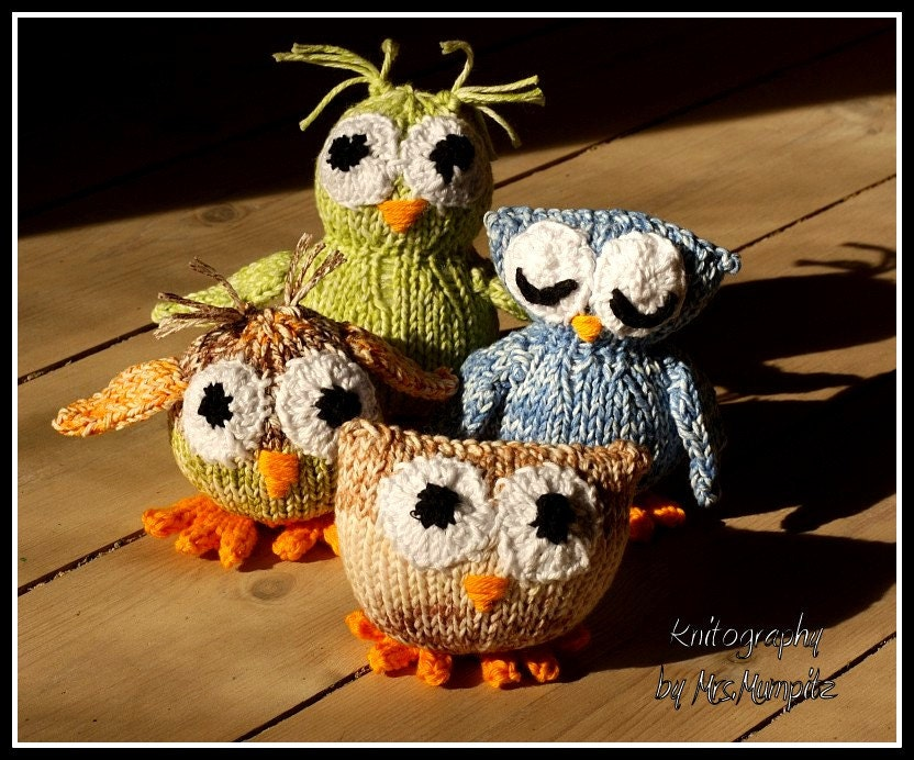 Toy owl knitting pattern for 4 different owls PDF pattern ...