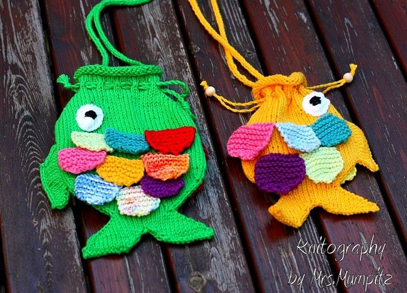 Fish String Purse For Kids Knitting Pattern Pfd Download For Etsy