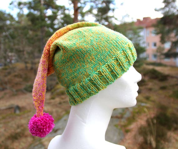Handknit pompom hat soft and non-itchy merino bamboo and  a9691b9ffe6