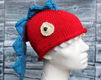 Dragon hat, handknit funny hat for kids, lizard or dragon hat, in red and blue