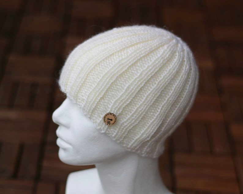 Alpaca cashmere men/'s hat light blue made to order handknit slouchy beanie hat in green blue red or rust gray white black