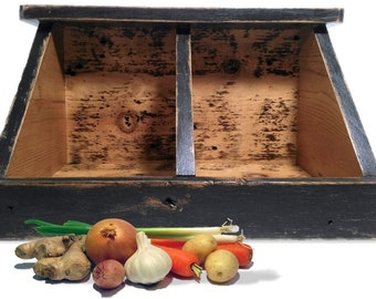 Reclaimed Wood Veggie Bin ~ Kitchen Food Storage ~ Large Divided Bin ~  Potato Onion Fruit Bin ~ Pantry Organizer ~ Chef Gardener Foodie Gift