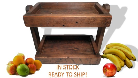 Reclaimed Wood Double Stack Tray Box Bin Kitchen Vegetable   Etsy