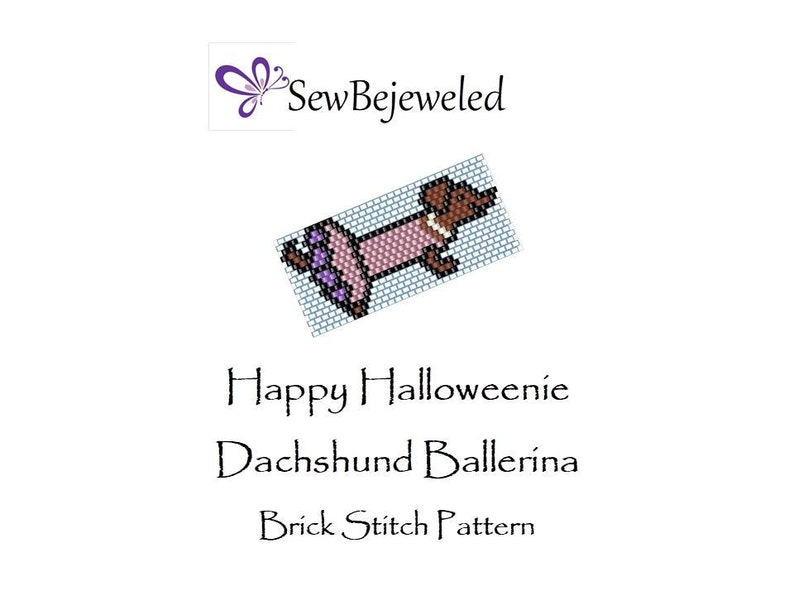 2 PDF Patterns!! Brick Stitch and Peyote Patterns Happy Halloweenie Dachshund Ballerina