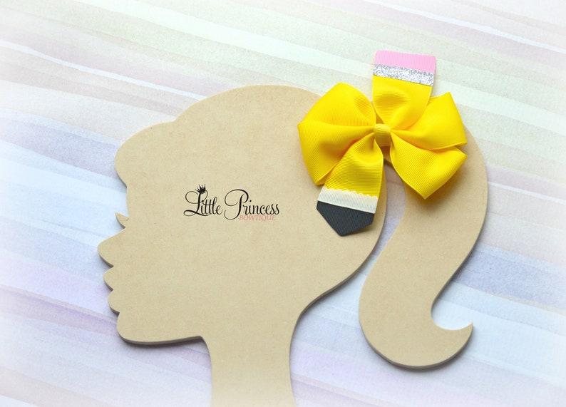Yellow Hair Bows Pinwheel Hair Bow Small Bows Back to School Back to School Hair Bows Pencil Hair Bows
