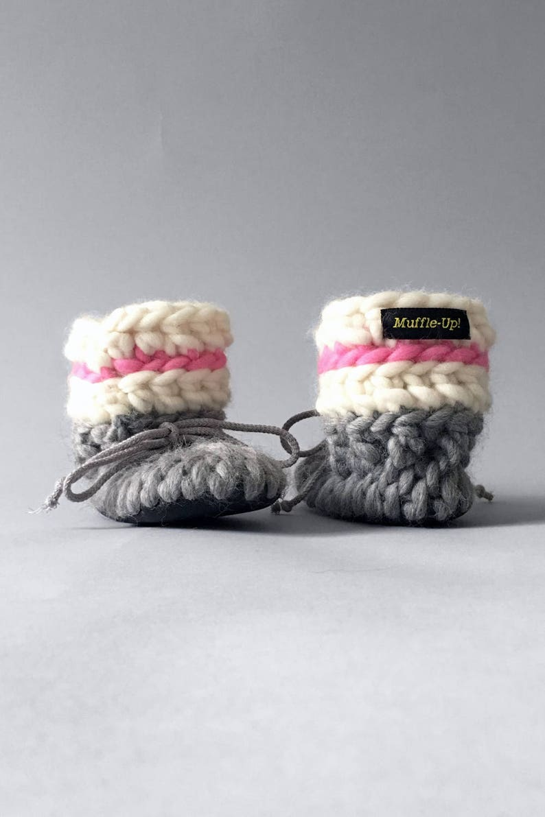 702ce98d34ba6 Baby Booties Pink and Grey – Girl Baby Booties Sock Monkey for Newborn to  Age 7 with Leather Soles and Fur Lining, Handmade Baby Gifts