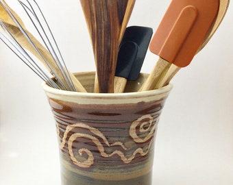 Pottery Utensil Holder, Handmade Pottery Spoon Holder, Pottery Spoon Jar, Pottery Spoon Crock, Hand Thrown Spoon Crock, Utensil Holder