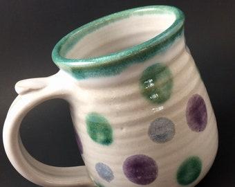 Pottery Mug, Handmade Coffee Mug, Pottery Coffee Mug, Purple and Teal Mug, Polka Dot Mug, 14 Oz Mug, Handmade Mug, Hand Thrown Mug