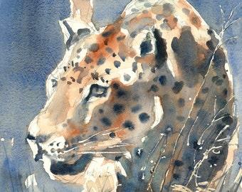 LEOPARD original painting wildlife art A2 size