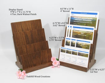 Brochure Holder, Business Card Stand, Display Stand 4 Tier, Wood Countertop Stand, Convention Display, Retail Display, Funeral Homes