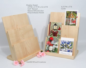 Greeting Card Stand, Display Stand 3 Tier, Wooden Card Display, Countertop Stand, Craft Fair Display, POS Stand