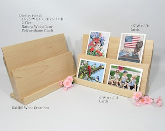 Card Display Wooden, Display Stand 2 Tier, Greeting Card Stand, Countertop Stand, Craft Fair Display, Bookshelf Display, POS Stand