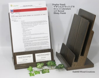 Literature with Business Card Holder, Realtor Display Stand, Wood Countertop Stand, Convention Display, Trade Show Display, Retail Display