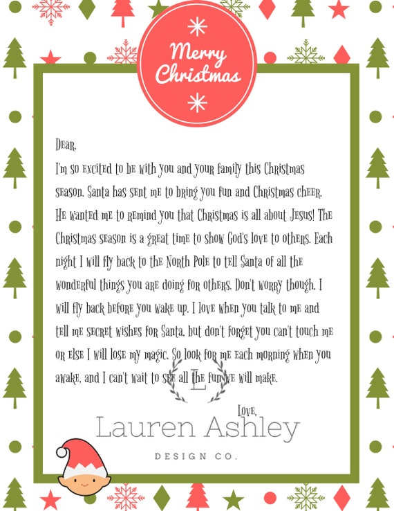 Elf On The Shelf Welcome Back Letter Printable.Personalized Elf Arrival Letter Printable