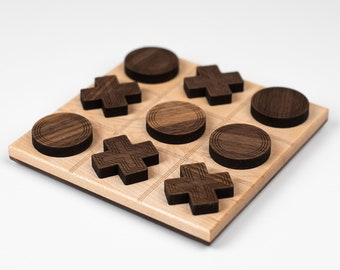 Wooden tic tac toe - contemporary wooden game - family game night - perfect gift for design enthusiast
