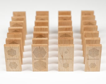 Wooden domino set - contemporary wooden game - family game night - perfect gift for design enthusiast