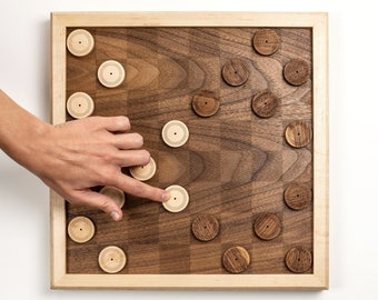wooden checkers - contemporary wooden game - family game night - perfect gift for design enthusiast