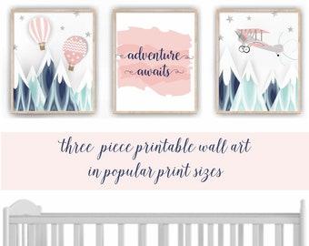 Baby Girl PRINTABLE Adventure Nursery Art, Hot Air Balloon Wall Art, Adventure Awaits Print, Mountain Nursery, Adventure Theme Decor AD1403