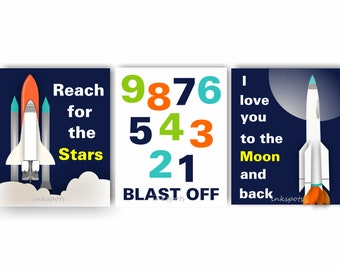 Outer Space Decor For Baby Boy Nursery Or Boys Room Set Of 4 Etsy