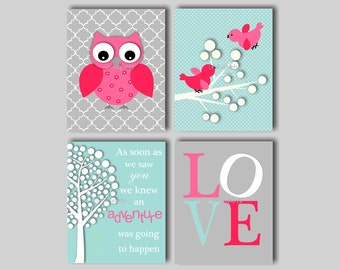 Baby Girl Nursery Art Owl Nursery Prints Baby Bird Nursery Art  Nursery Owl Decor Owl Art Owl Nursery Bedding Decor Choose Colors OW1517
