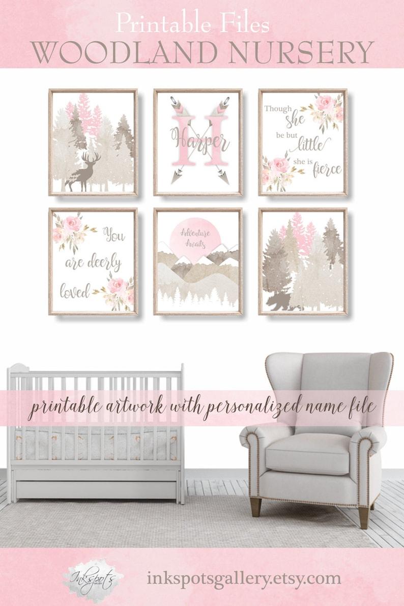 Baby Girl Woodland Nursery Decor Personalized Print PRINTABLE Watercolor Woodland Animals Adventure Awaits Nursery Print- WD4409