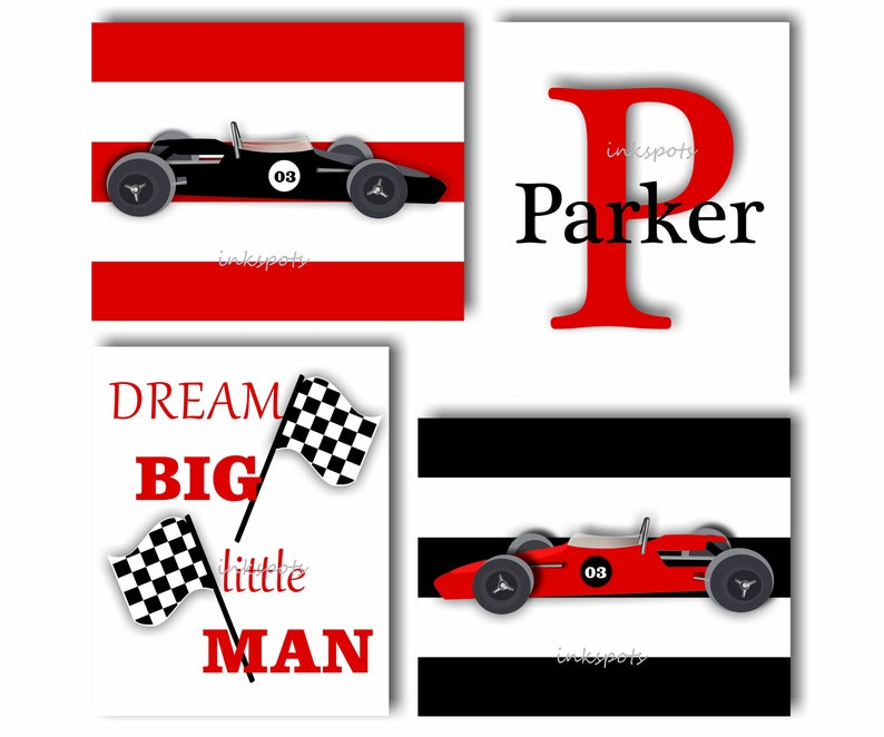 RACE CAR Boys Wall Decor, Custom Colors Available. Set of 4 Black and Race Car Bedroom Decorating Ideas on car themed bedroom ideas, golf bedroom ideas, race car beds, race car home decor, race car wall decorations, race car headboards, classic car bedroom ideas, race car boys bedrooms, race car bedroom design, race car storage, race car bedroom themes, race car themed man cave, race car room design, race car bedroom set, race car living room, disney cars bedroom room ideas, race car bedroom rugs, disney cars birthday party food ideas, race car inspiration,