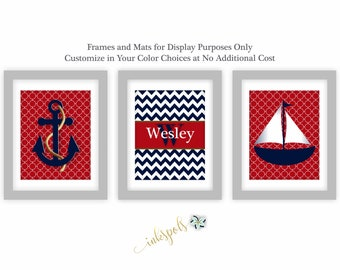 Nautical Wall Art Nautical Nursery Print Baby Boy Nursery Art Anchor Nursery Decor Sailboat Nursery Art Nautical Bedroom Art NN1563