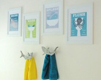Kids Bathroom, Bathroom Wall Art, Kids Bath Art, Shark Bath, Whale Bathroom, Kids Bath, Nautical Bathroom, Brush, Flush - Choose Colors KB02