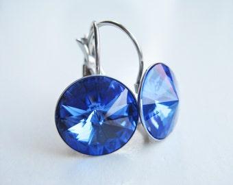 Cobalt blue earrings, Swarovski crystal royal blue, stainless steel leverbacks, earrings sapphire blue, handmade