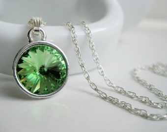 Light green necklace, peridot crystal, green Swarovski necklace, 925 silver jewelry, August birthstone necklace
