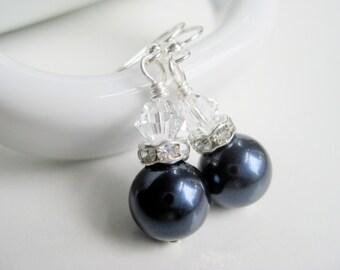 Navy blue earrings, pearl drops, dark blue jewelry, Swarovski crystal pearl, midnight blue, classic earrings shop