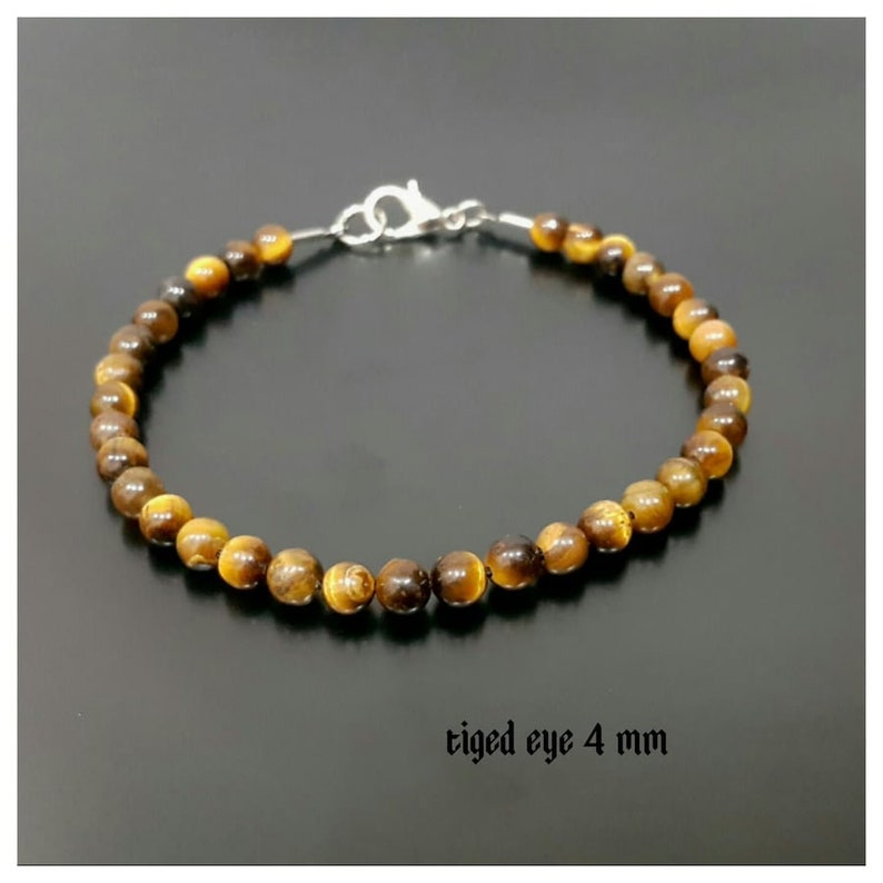 TIGER EYE BRACELET 2 Piece 4 mm Beaded Bracelet Men/'s Beaded Bracelet Adjustable Bracelet Custom Jewelry Unique Jewelry