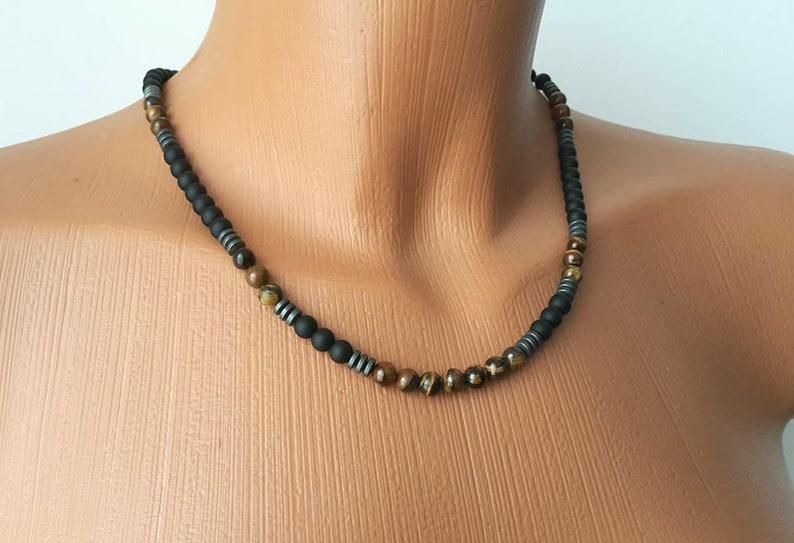 BEADED NECKLACE Matte Onyx-Tiger Eye Necklace 6 mm,Custom Jewelry,Stone Necklace,Men/'s Jewelry,Men/'s Beaded Necklaces,Unique Jewelry,