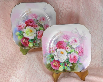 Hand Painted Rose Plates