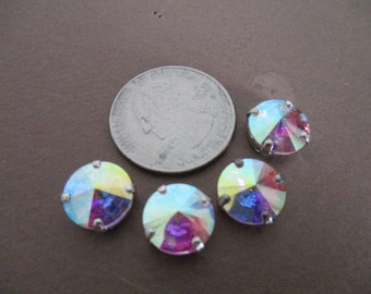 Lot of 4 New Swarovski Sew Ons 10mm in Clear Aurora Borealis  Lots of  SPARKLE