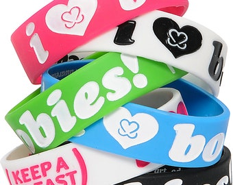 6x Bracelet [Classic Colors Lot]: I Love Boobies Jelly Bracelet (Keep a Breast)