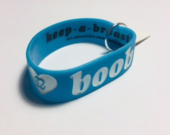 Blue w/ White Text (Classic) _ I Love Boobies (Keep a Breast) Jelly Bracelet
